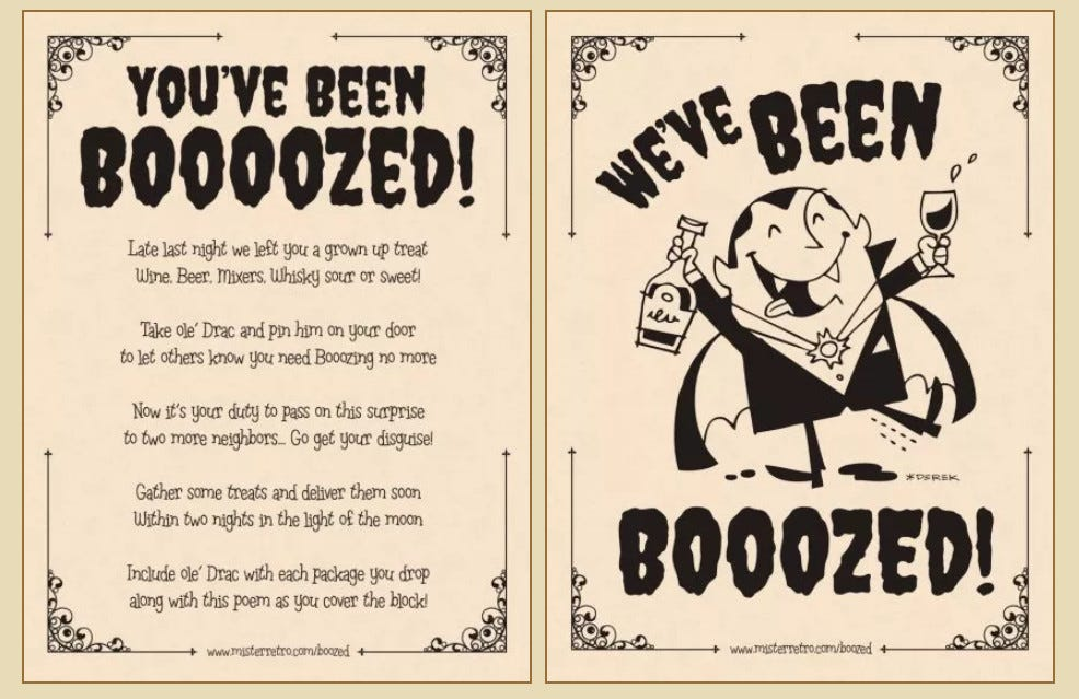 """""""You've Been Boooozed!"""" printout featuring an image of a merry Dracula holding a glass of wine."""