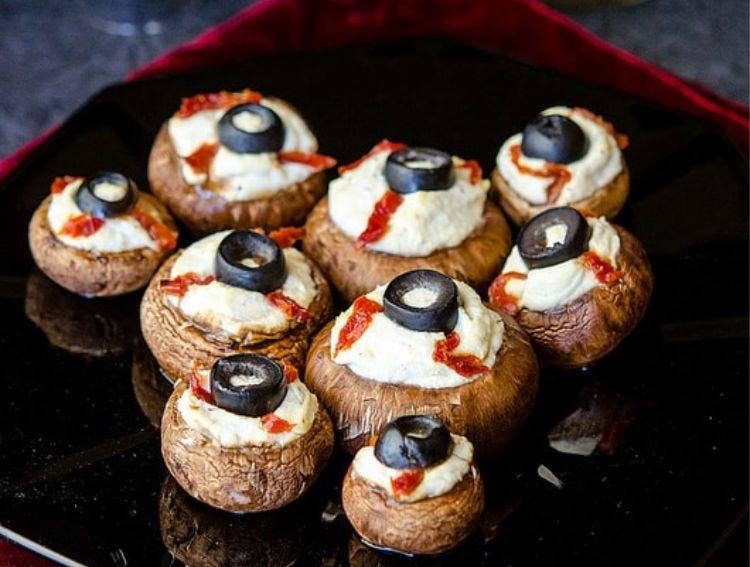 Stuffed Mushrooms that resemble eyeballs