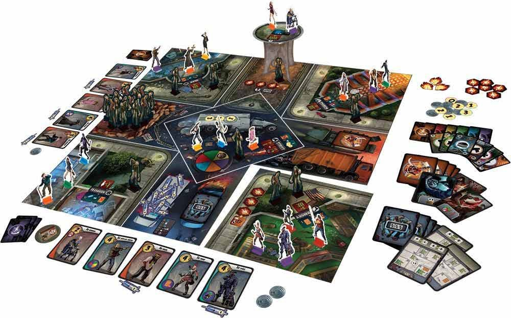 City of Horror board set up with numerous zombies and tower