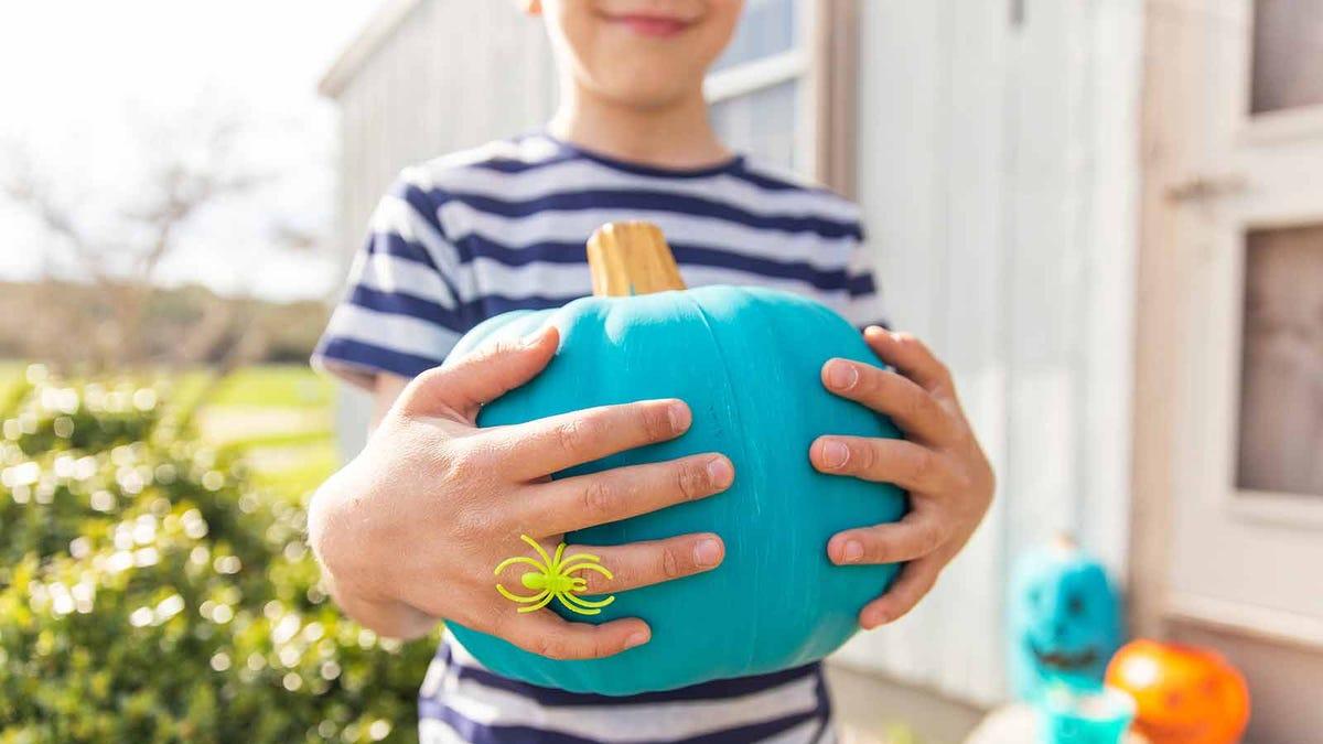 boy holding a pumpkin painted teal