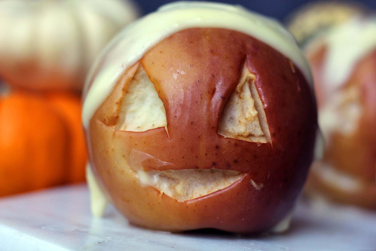 Baked Apple Carved into a shrunken head for halloween