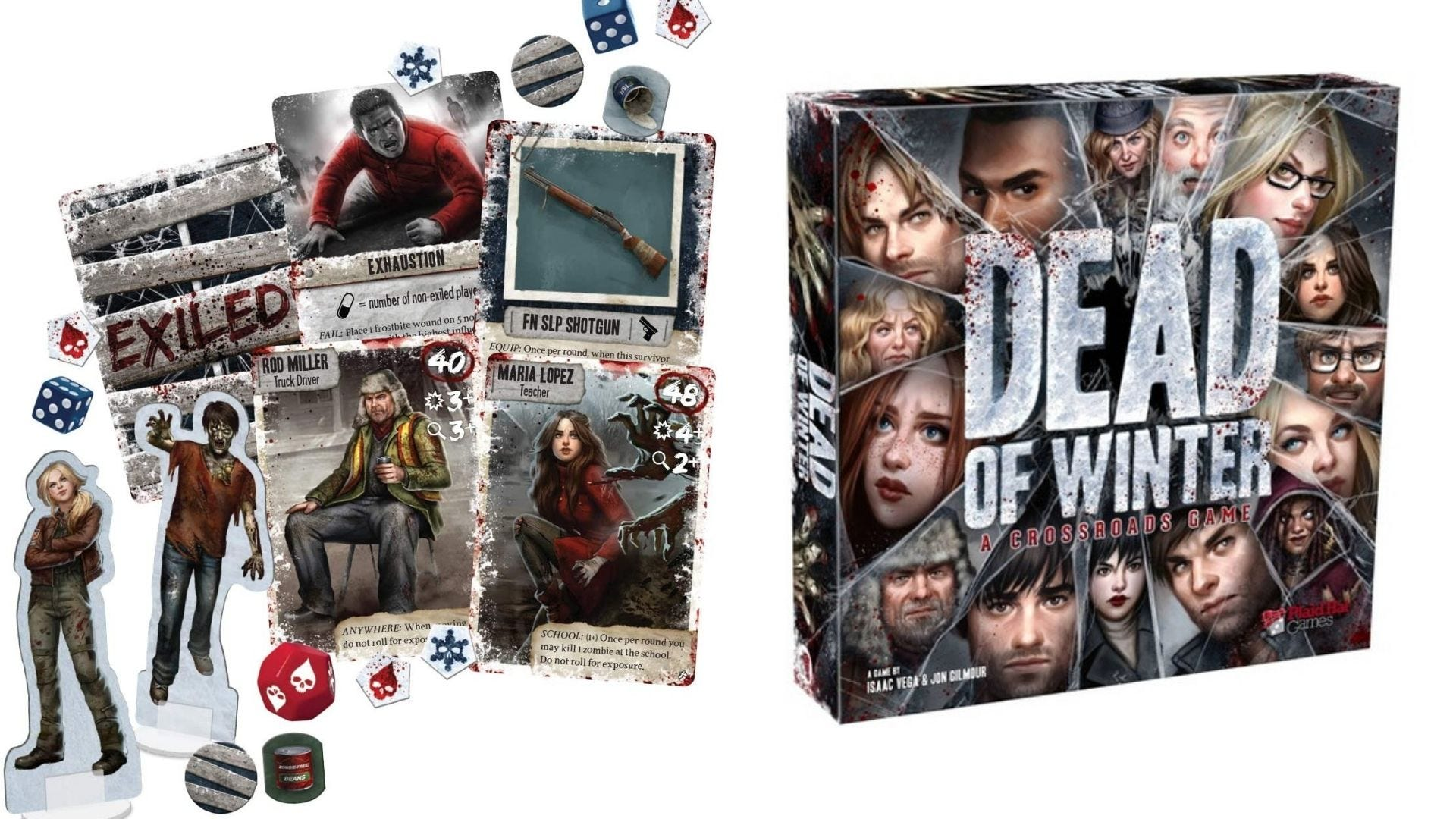 The pieces and cards from 'Dead of Winter' sitting beside the box.
