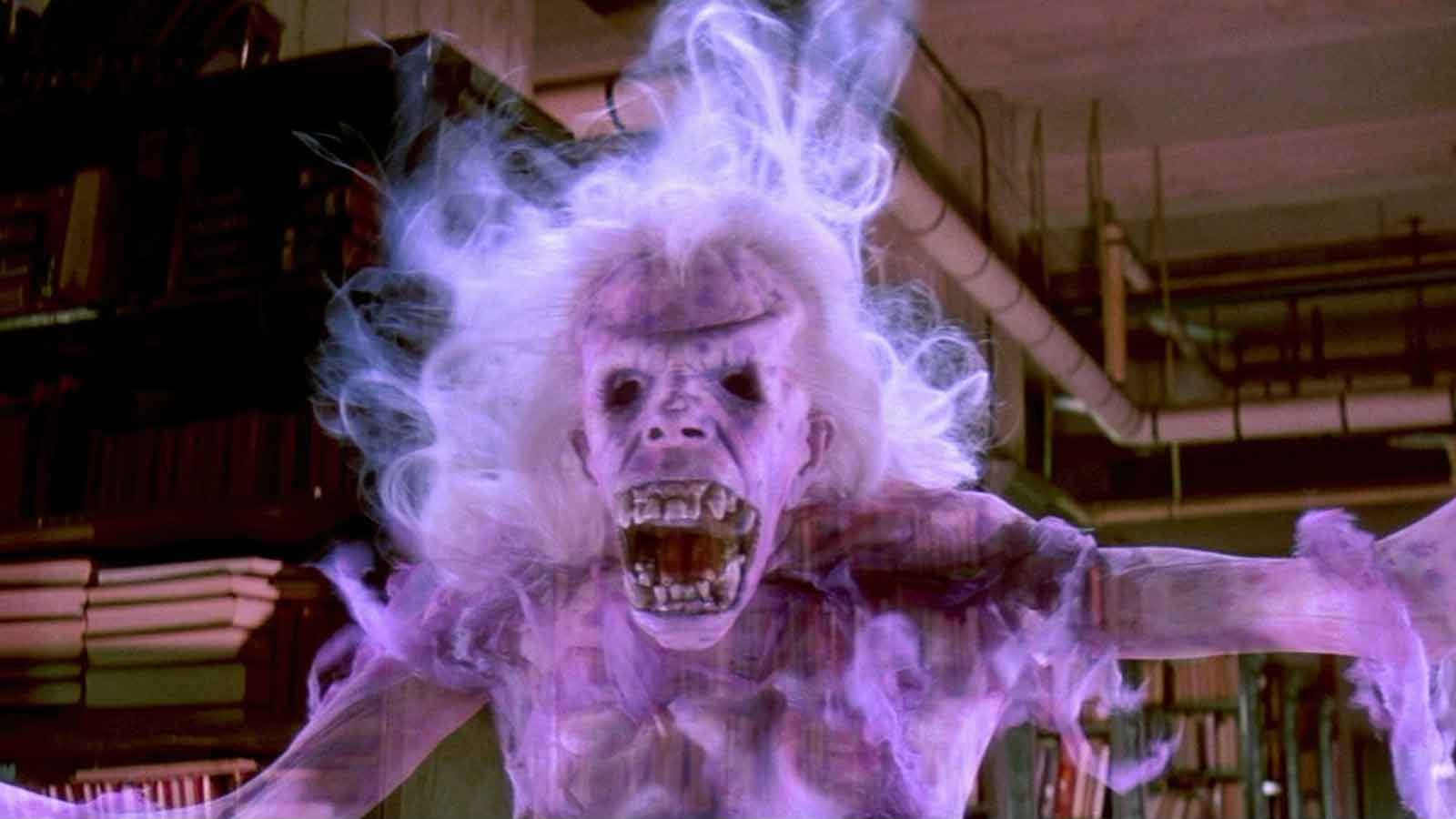 one of the ghouls from Ghostbusters flying around a library