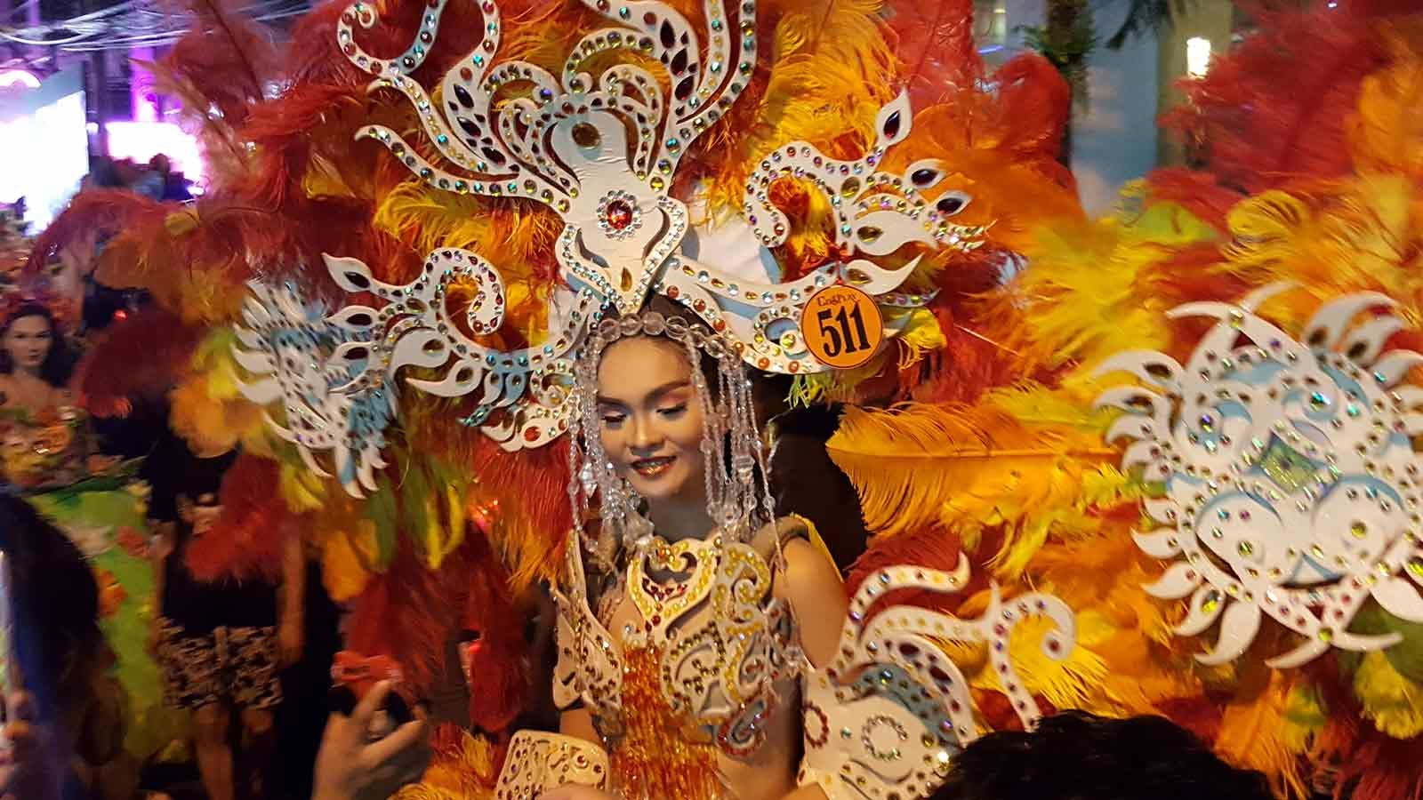 Costumed parade goer in the Philippines
