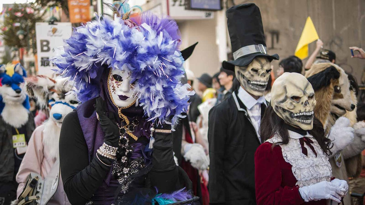 People in Japan celebrating Halloween with a costume parade