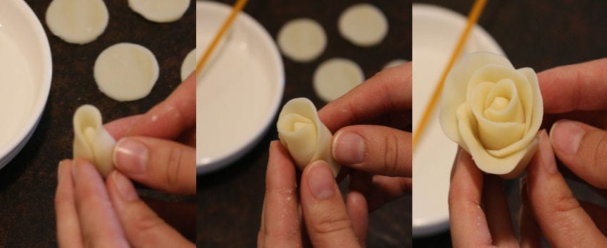 Three separate images demonstrating how to create a rose using leftover pie dough.
