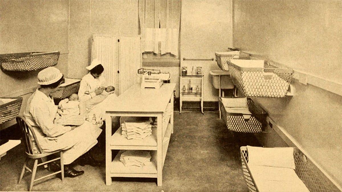 example of an early hospital baby nursery courtesy of the New York Nursery and Child's Hospital, 1910