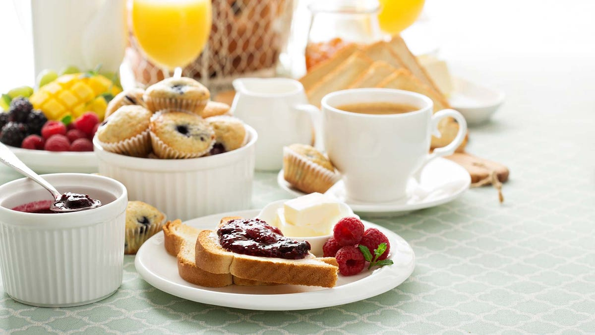 different kinds of foods laid out at a continental breakfast