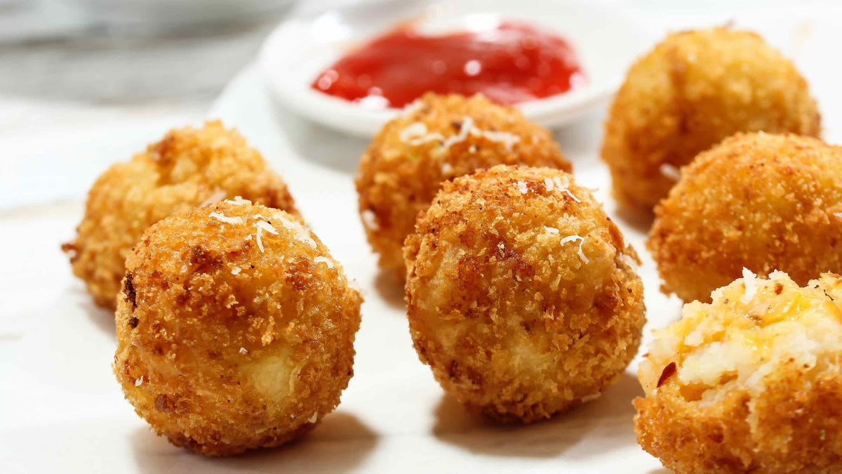 mashed potato cheese balls with dipping sauce