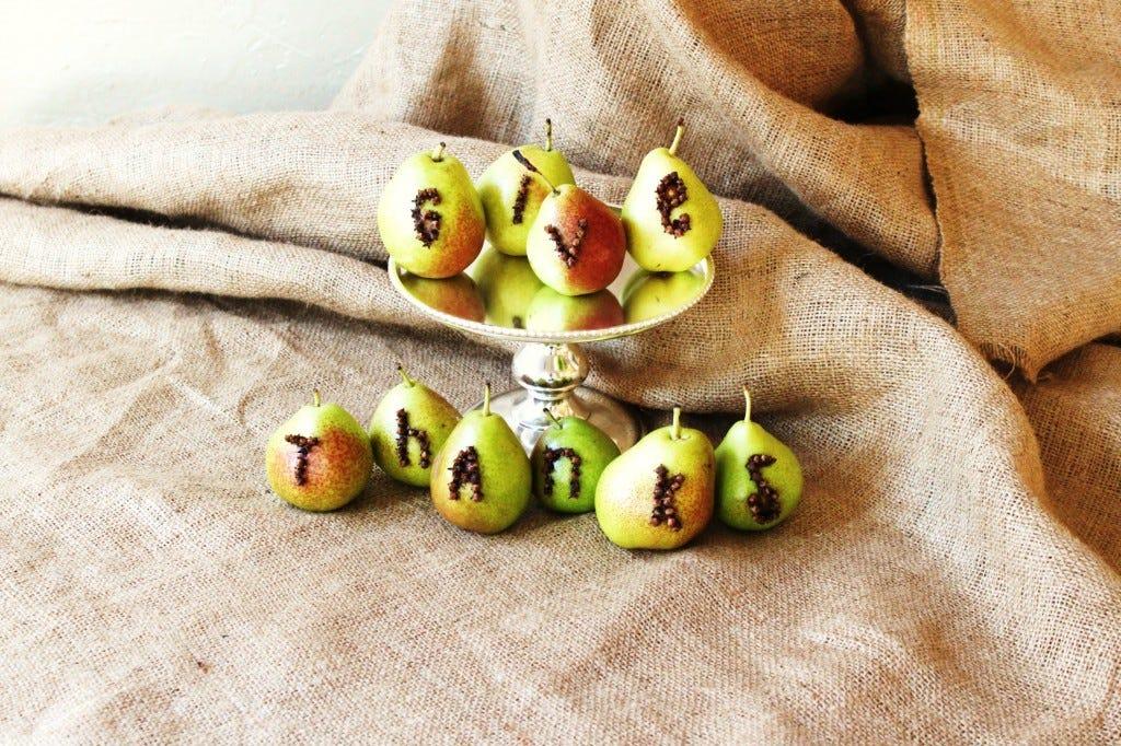 Clove Studded Pears Thanksgiving Decor