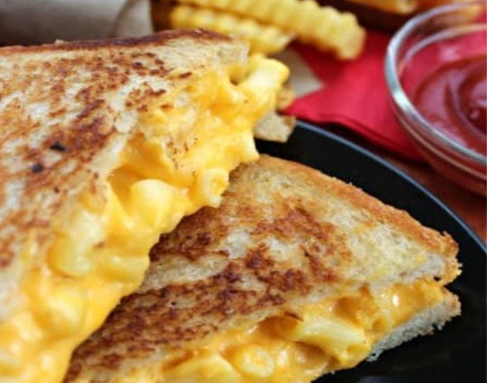 A grilled (mac and cheese) sandwich