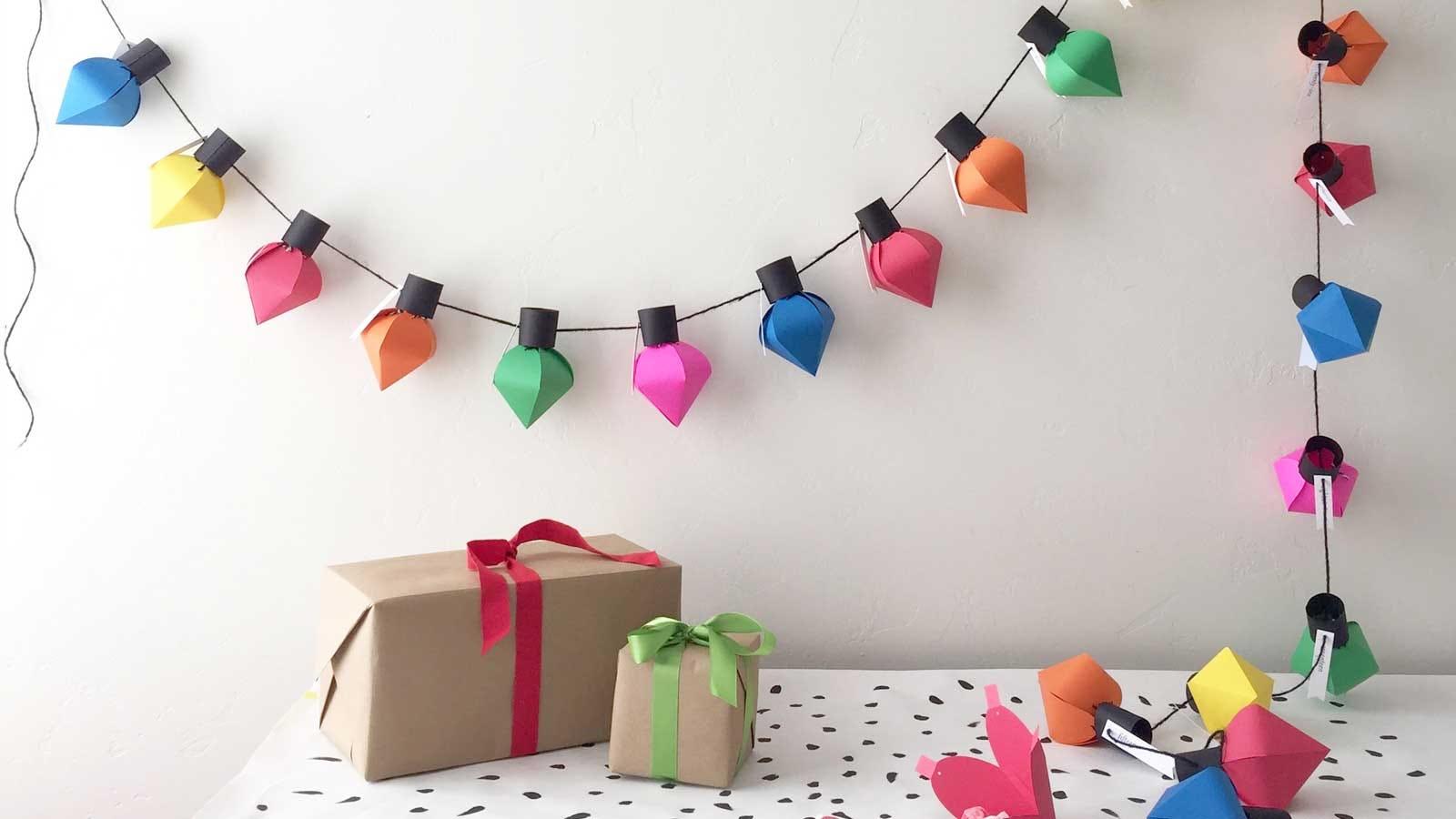 an advent calendar made from paper craft Christmas bulbs