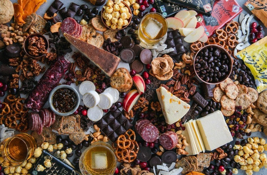 chocolate and bourbon cheeseboard from Spices in My DNA