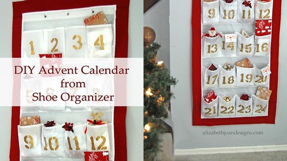 an advent calendar made from a shoe organizer