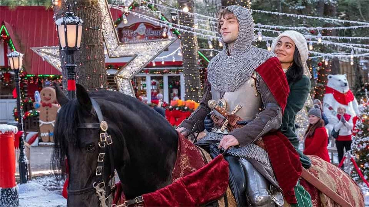 Screen capture from The Knight Before Christmas showing a knight riding through a town decorated for Christmas