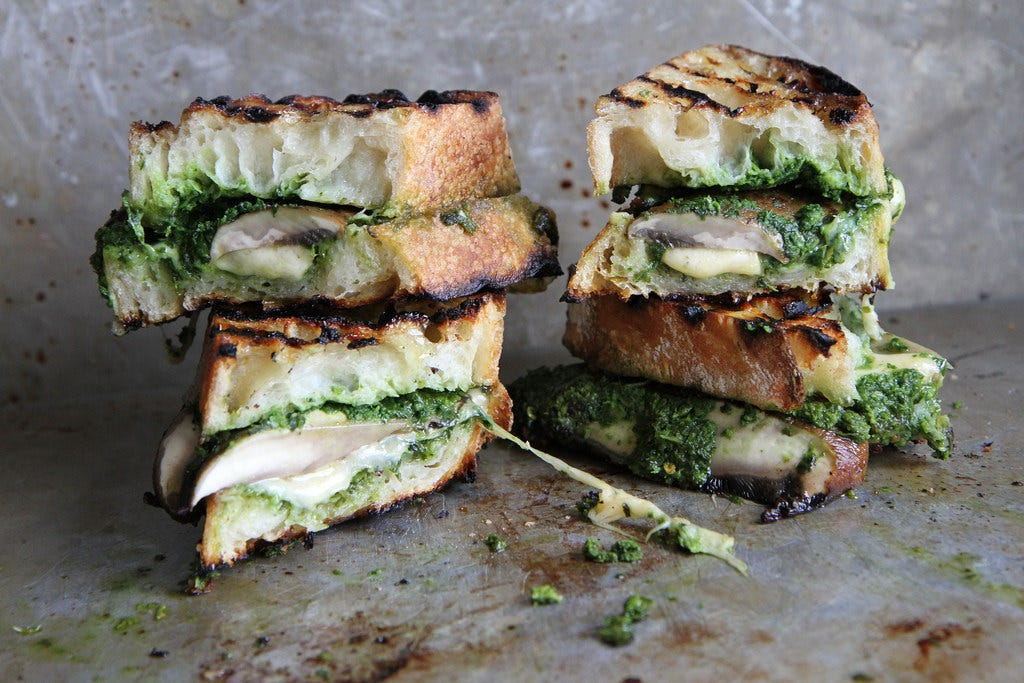 Heather Christo's Portobello Gouda and Kale Pesto Grilled Cheese