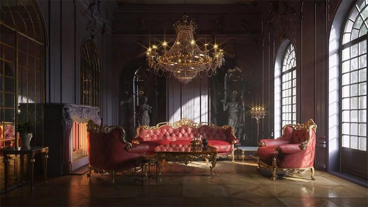 a beautifully decorated Rococo-style living room