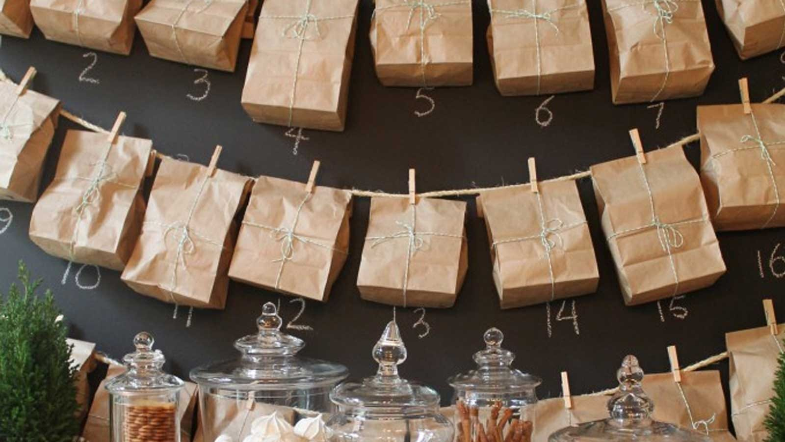 simple advent calendar made from plain paper lunch bags