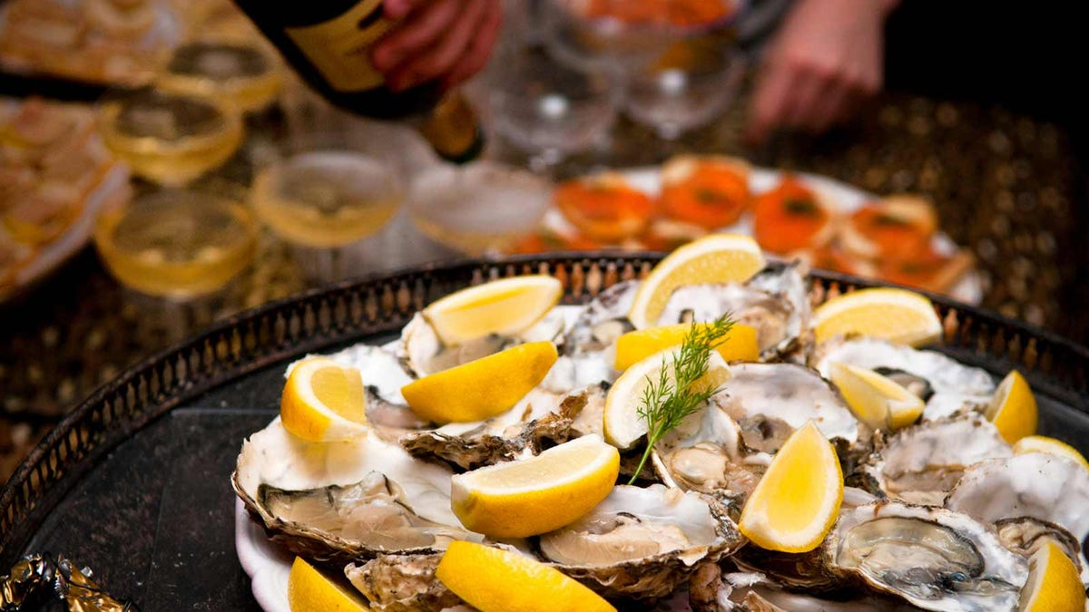 Oysters and champagne, served on New Year's Eve
