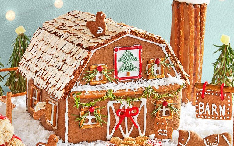 gingerbread barn, rosemary trees