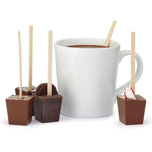 hot chocolate on a stick in various flavors