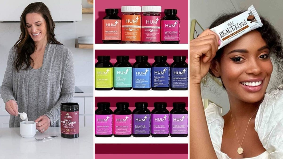 A woman adding Ancient Nutrition Collagen powder to a mug, three shelves filled with bottles of HUM products, and a woman holding a Kalumi Beauty protein bar to her forehead.