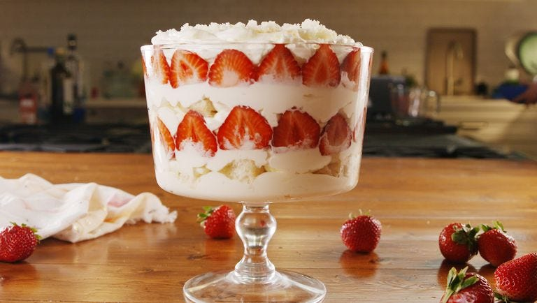 Delish Champagne and Strawberry trifle