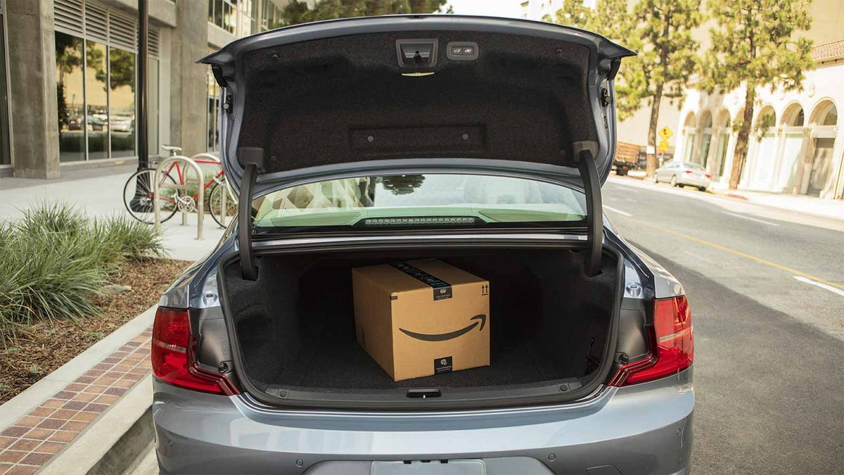 An Amazon package in someone's trunk, on its way to be returned.