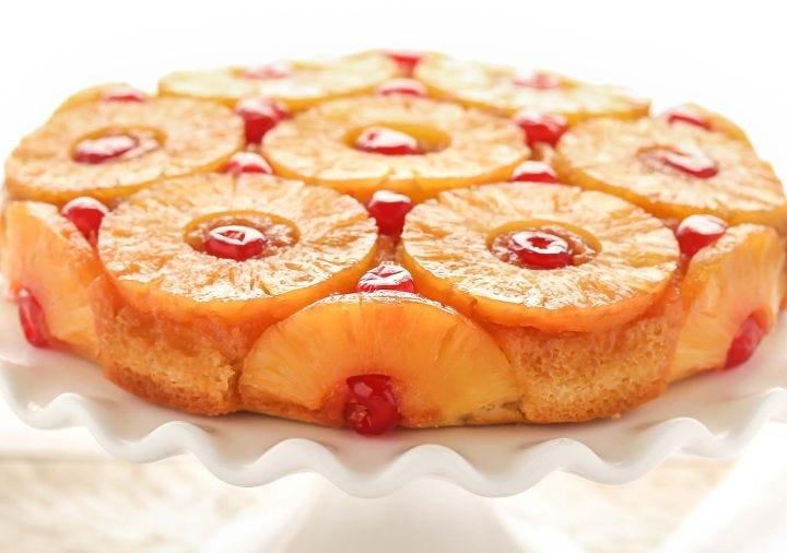 A freshly baked pineapple upside-down cake.