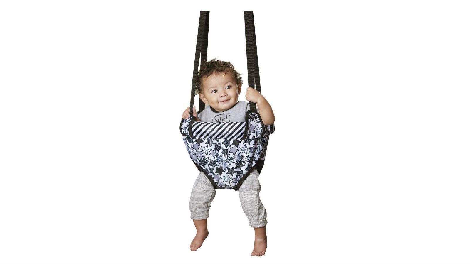 A toddler in an Evenflo Doorway Jumper.
