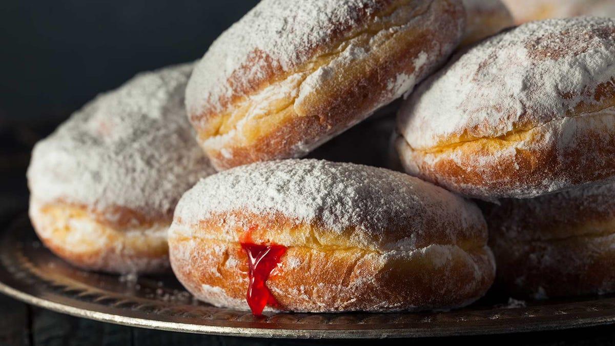 A platter of paczki donuts.