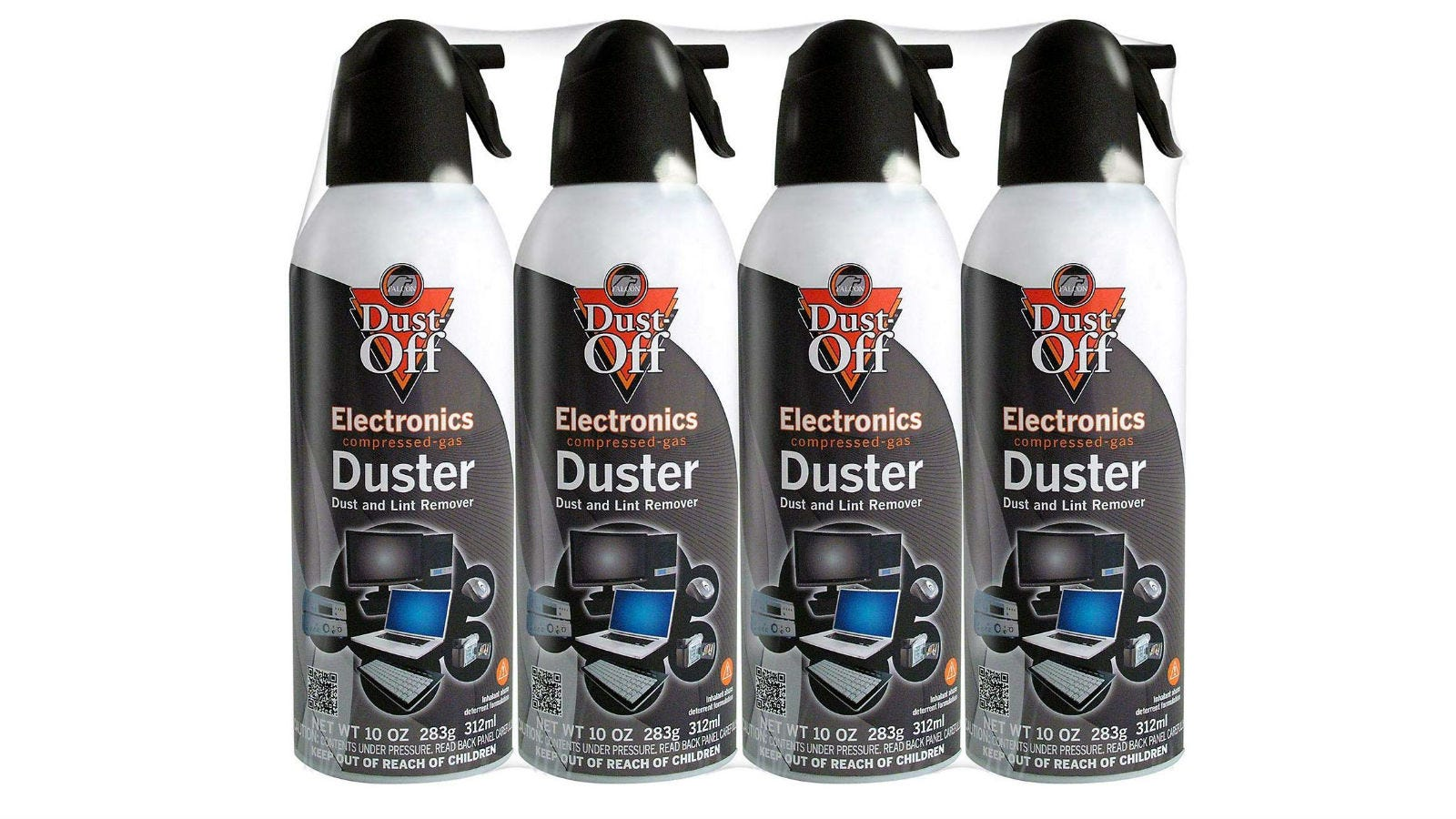 Four spray bottles of Falcon Dust-Off Electronics Compressed-Gas Duster.