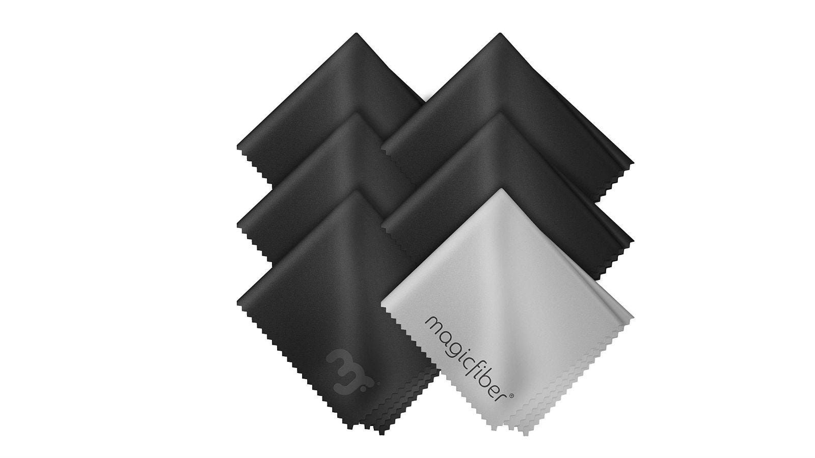 Six MagicFiber Microfiber Cleaning Cloths in black and gray.