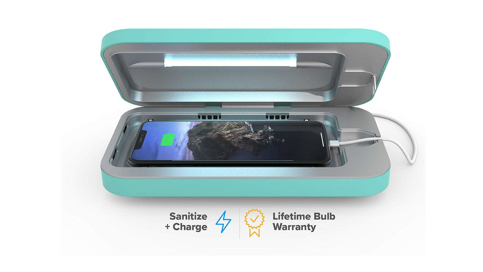 The PhoneSoap 3 UV Smartphone Sanitizer & Universal Charger with its lid open, showing a smartphone inside that's charging.