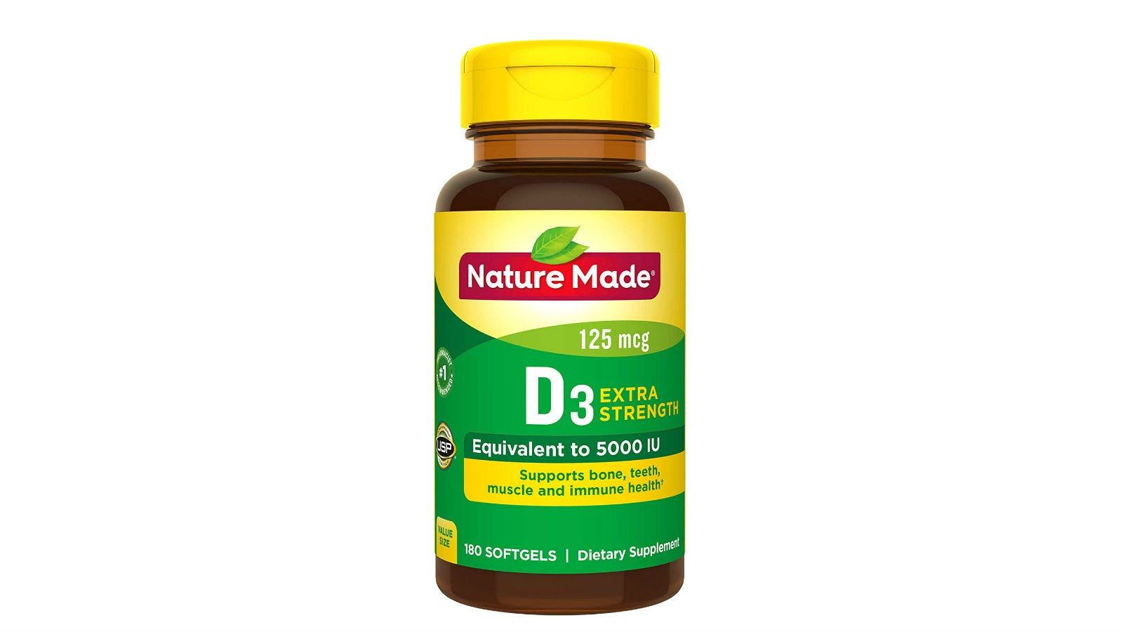 A bottle of Nature Made Extra Strength Vitamin D.