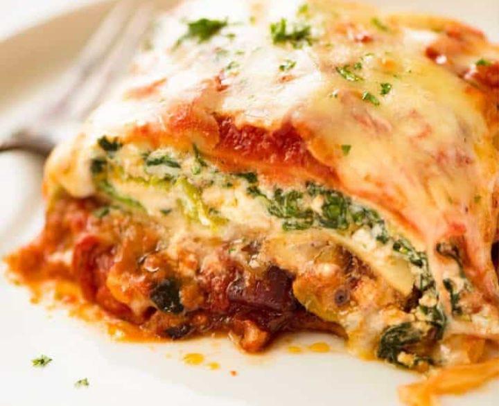 A piece of vegetarian lasagna.