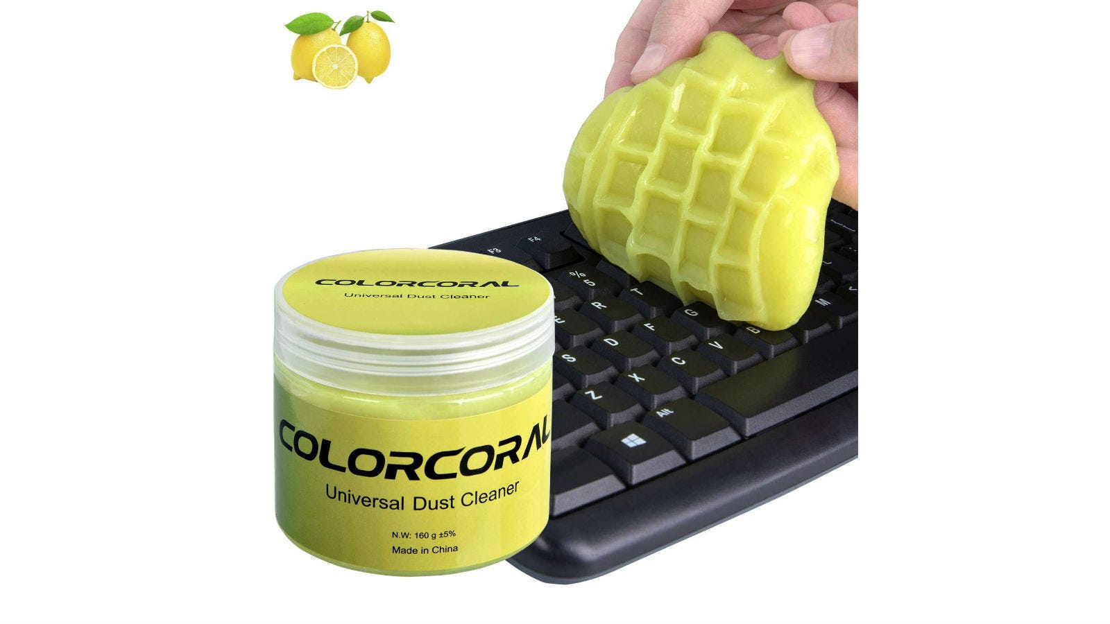 A jar of ColorCoral Universal Keyboard Dust Cleaner next to a person's hand using a sponge to clean a keyboard.