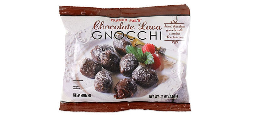 a package of Trader Joe's chocolate lava gnocchi