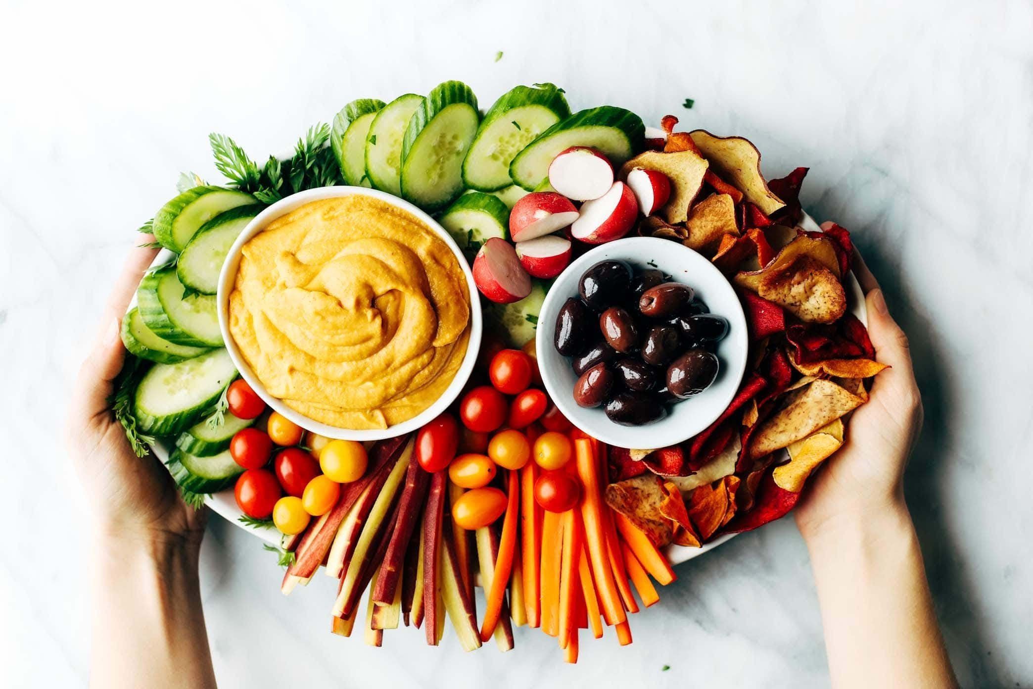 curry hummus snack board