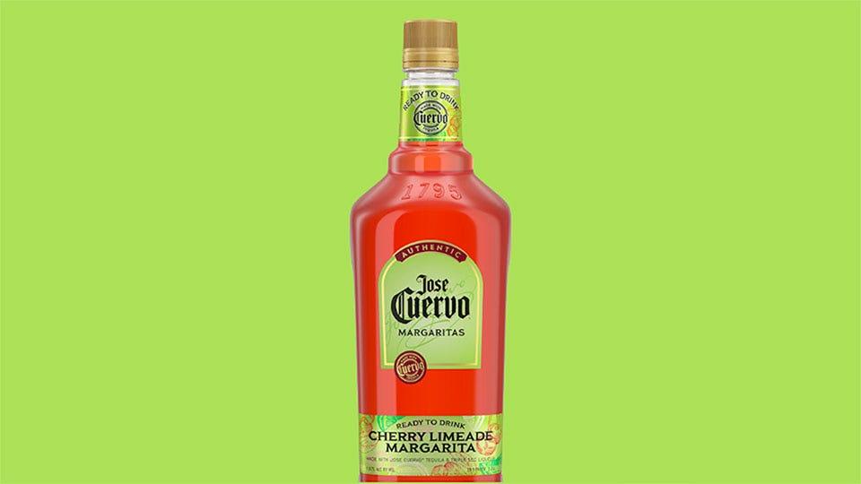 A bottle of Jose Cuervo cherry limeade margarita.