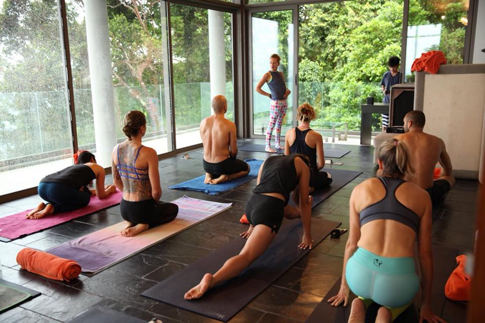 A group of people on their yoga mats in a window-filled room.