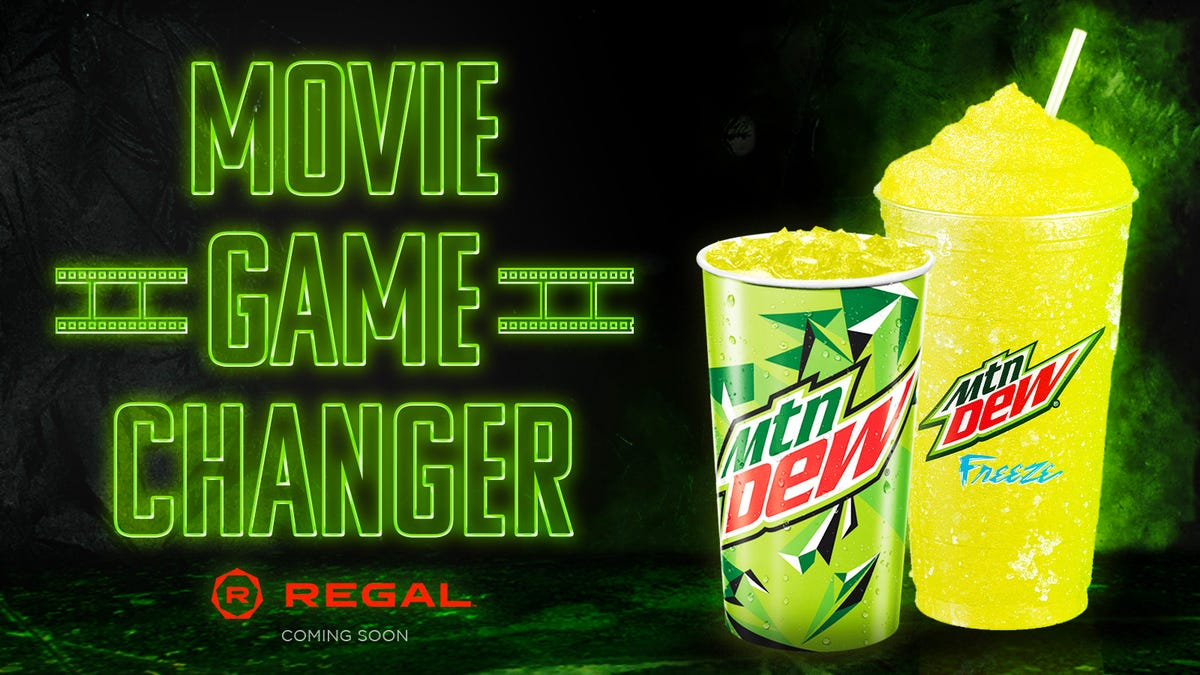 An advertisement showing Mountain Dew coming to the Regal Theaters.