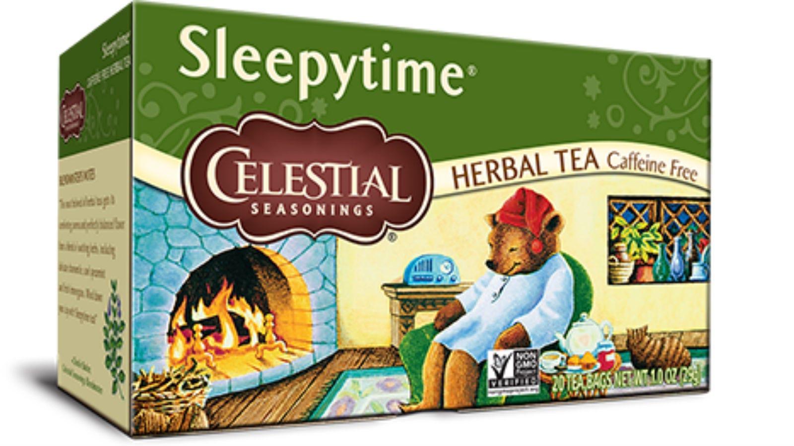 A box of Celestial Seasonings Sleepytime Tea.