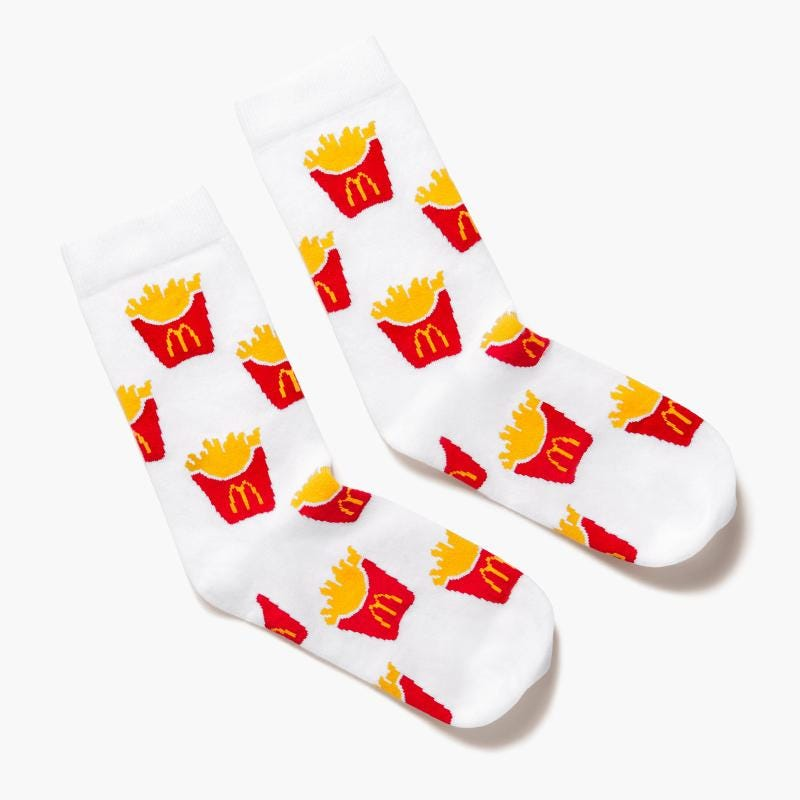 socks with McDonald's featuring pictures of French fries