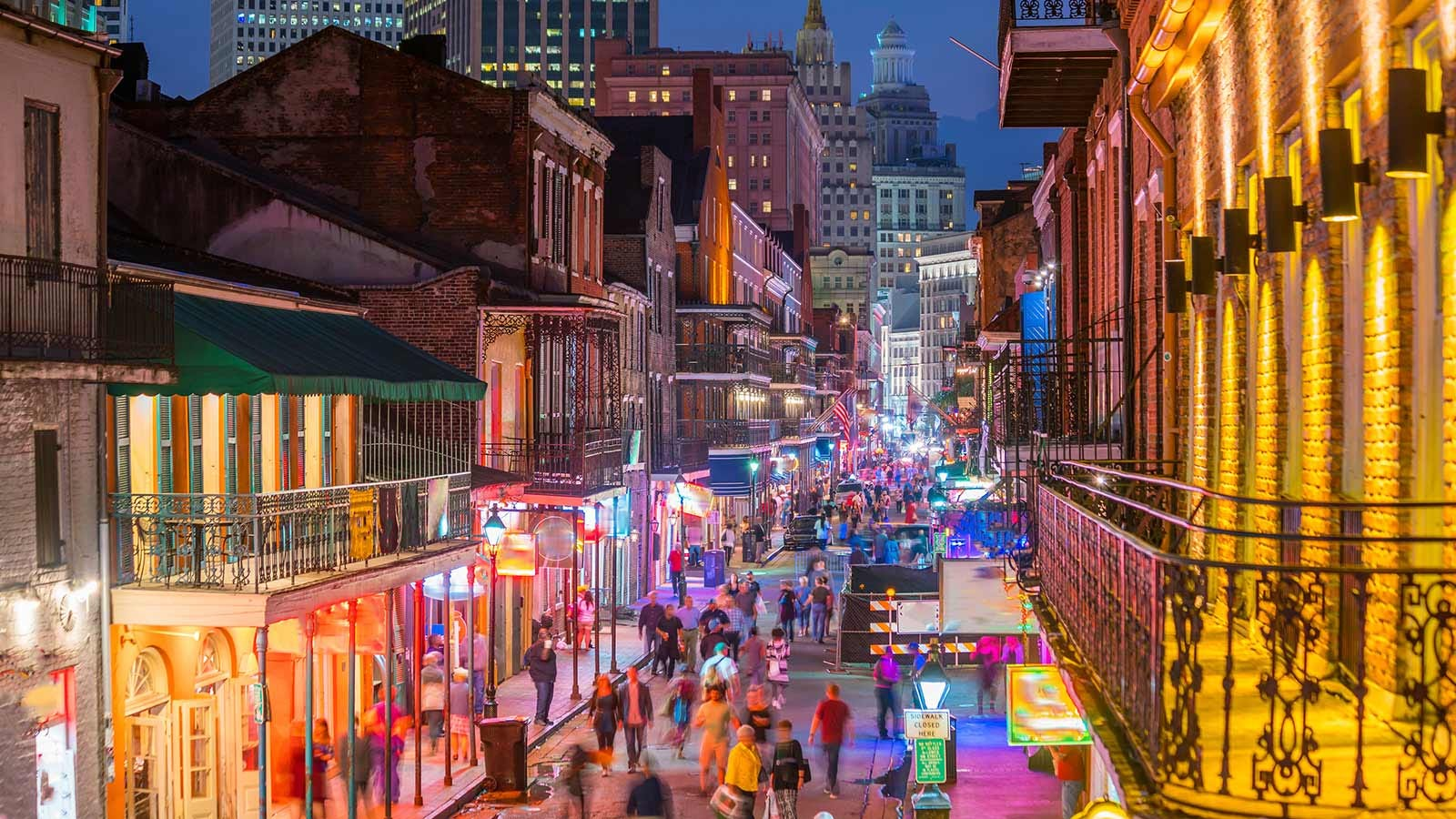 Bourbon Street in New Orleans.