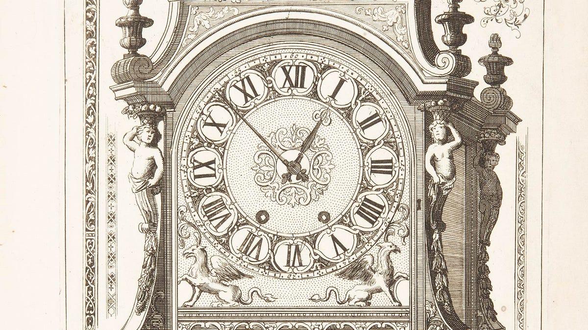 A 17th century wood print of an elaborate mechanical clock.