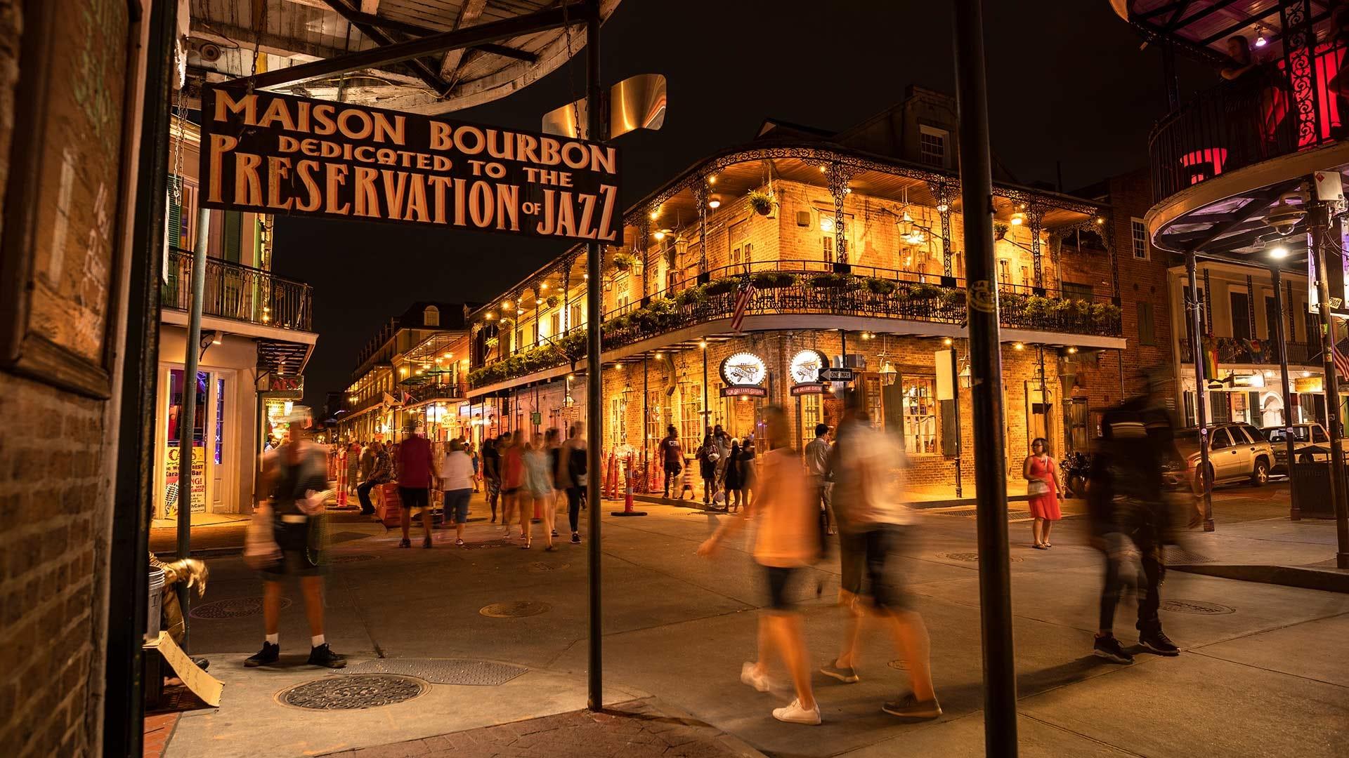 The exterior of the Maison Bourbon, Preservation Hall Jazz Bar.