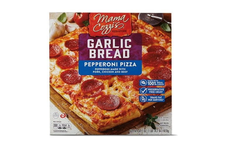 Cover of a box of Mama Cozzi's Garlic Pizza Bread