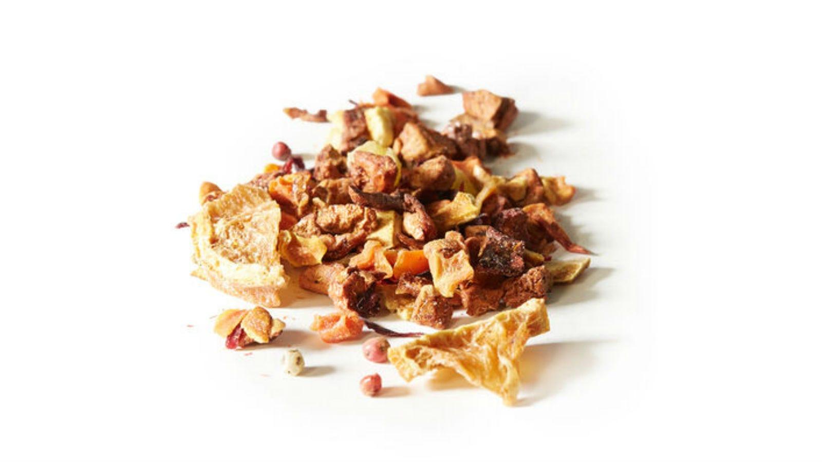A small pile of David's Tea Sunny C loose leaf Tea.