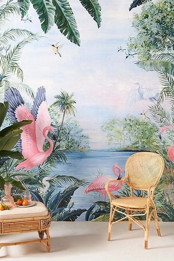 print wallpaper featuring flamingos, palm trees, and other birds